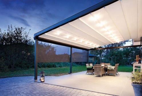 Fabric and aluminium Awnings fabric patio at night